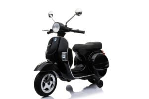 "Elektro Kinder Motorrad ""Vespa"" – Lizenziert – 12V – 2 Motoren – MP3 – Ledersitz"